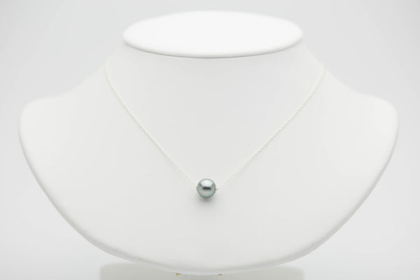 silvery blue green Tahitian pearl solitaire chain necklace on Sterling