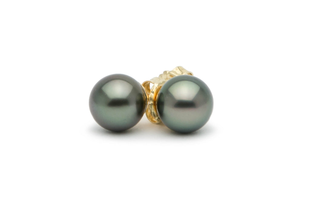Dark green Tahitian pearl stud earrings
