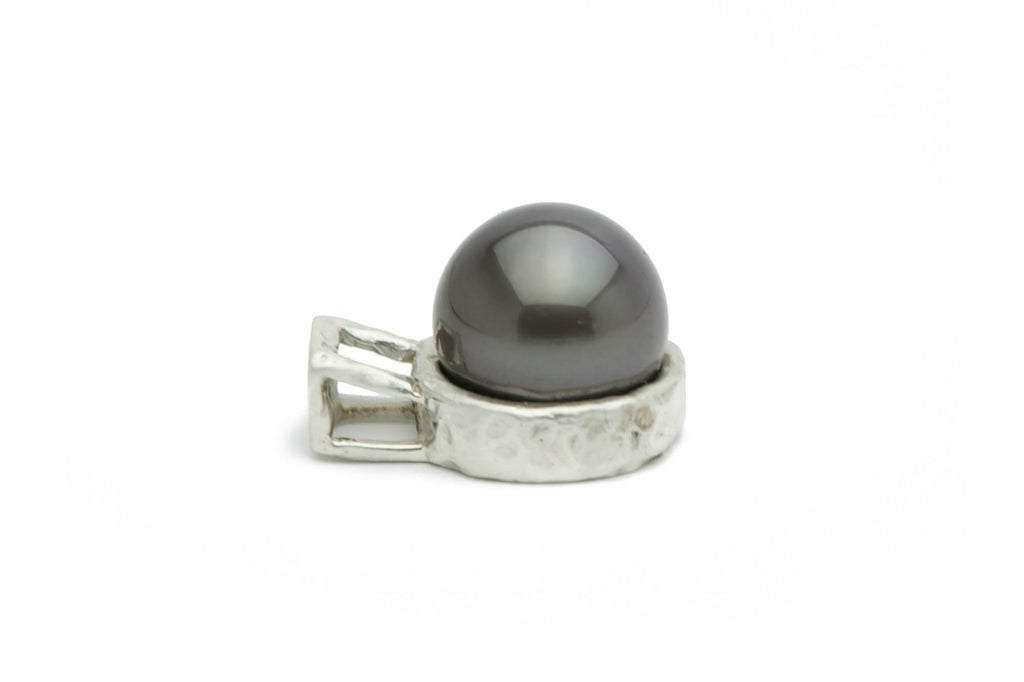 13mm Tahitian pearl cast Sterling silver heavy pendant