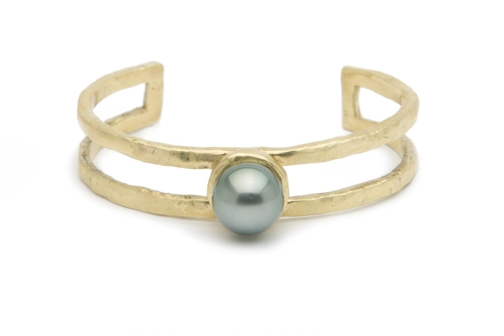 Silver green Tahitian pearl and cast bronze cuff bracelet
