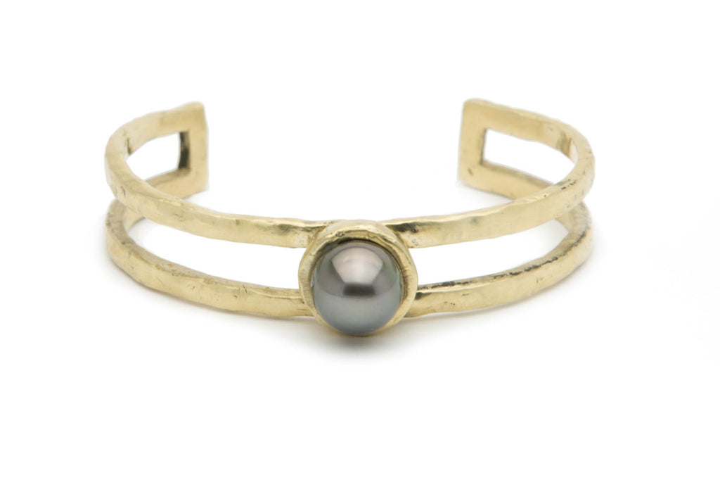 1mm dark aubergine Tahitian pearl and cast bronze cuff bracelet