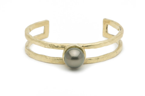 12mm Tahitian pearl and cast bronze double cuff bracelet