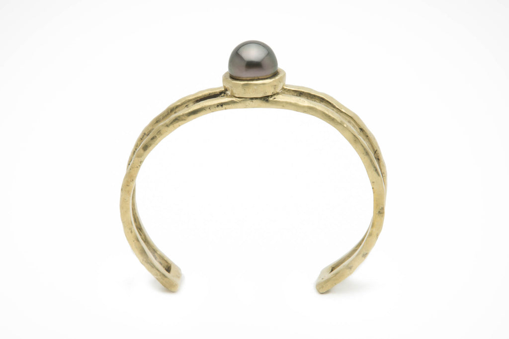 11mm dark aubergine Tahitian pearl and cast bronze cuff bracelet