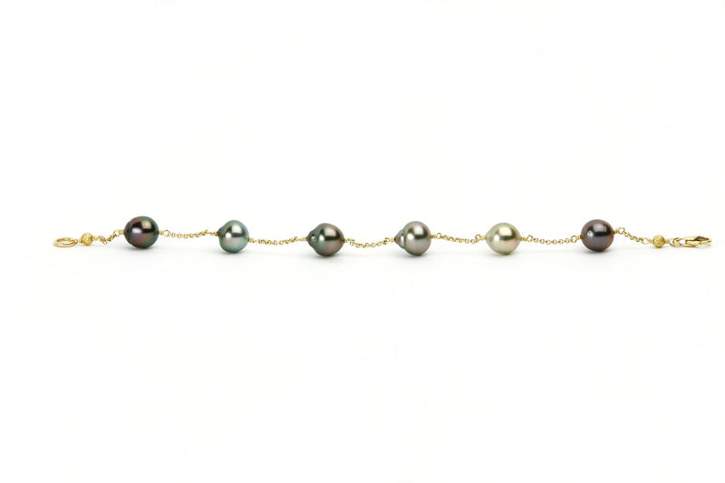 Tin-Cup Multi Color Pearl Bracelet