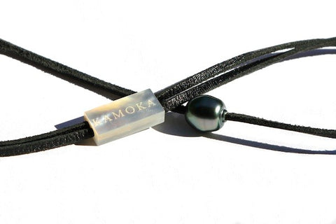 Eco Tahitian pearl and kangaroo leather necklace