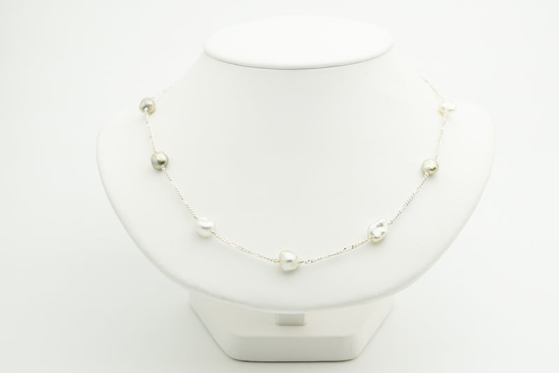 Tahitian keshi pearl Tin Cup Sterling silver chain necklace