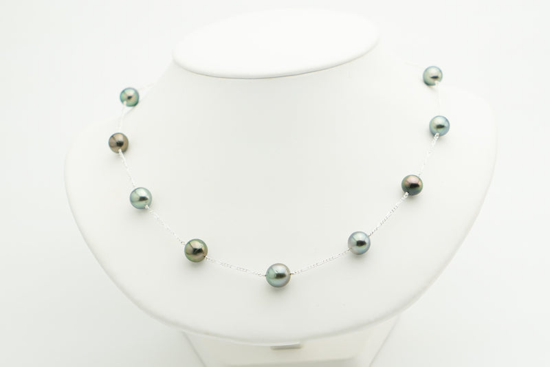 Blue-Green to Aubergine Tin-Cup Tahitian Pearl Necklace