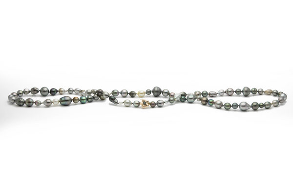 Baroque, semi-baroque mixed Tahitian pearl 36 inch necklace