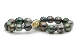 Tahitian colorful circled pearl Kamoka bracelet