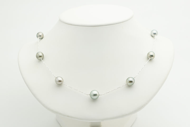 Silvery gray Tahitian pearl tin cup station necklace sterling