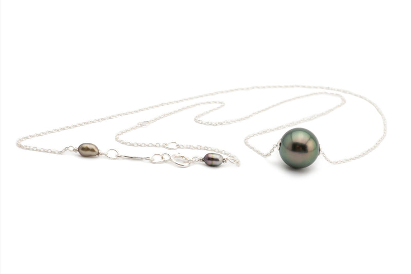Dark Peacock Tahitian Pearl Solitaire Necklace