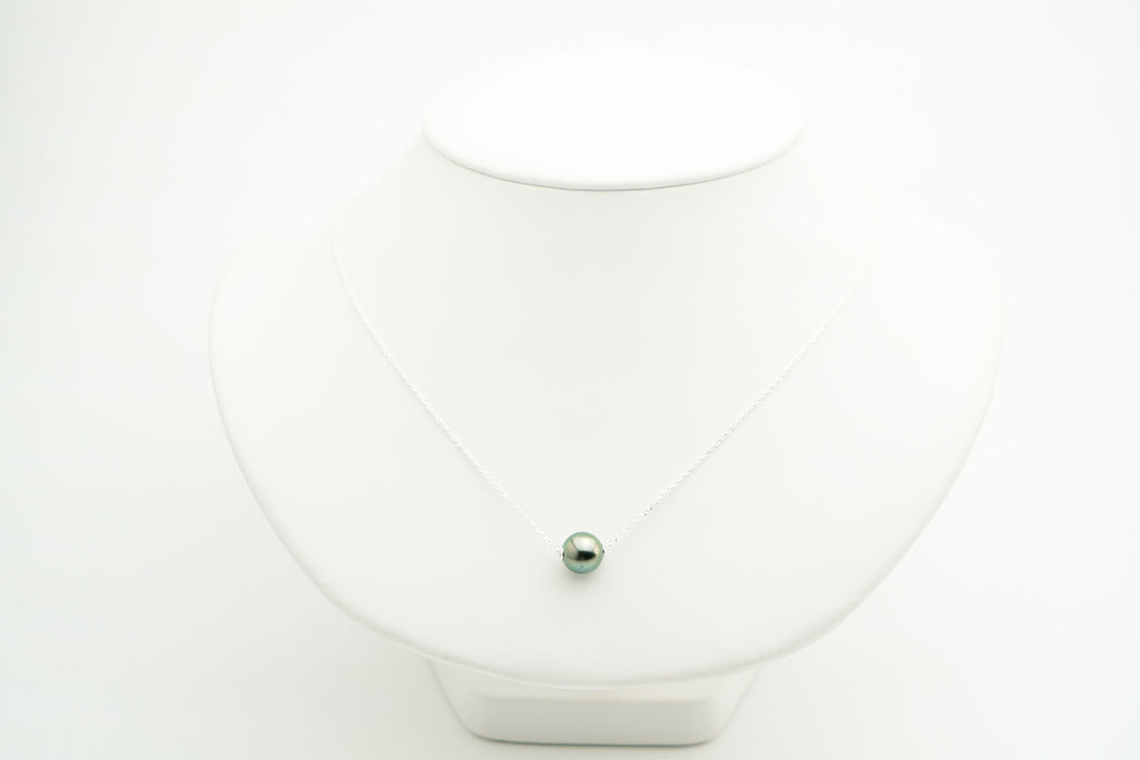 Green Tahitian pearl slider necklace on silver