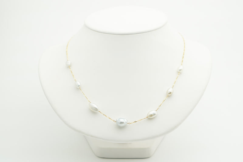 White Tahitian keshi pearl tin cup station gold chain necklace