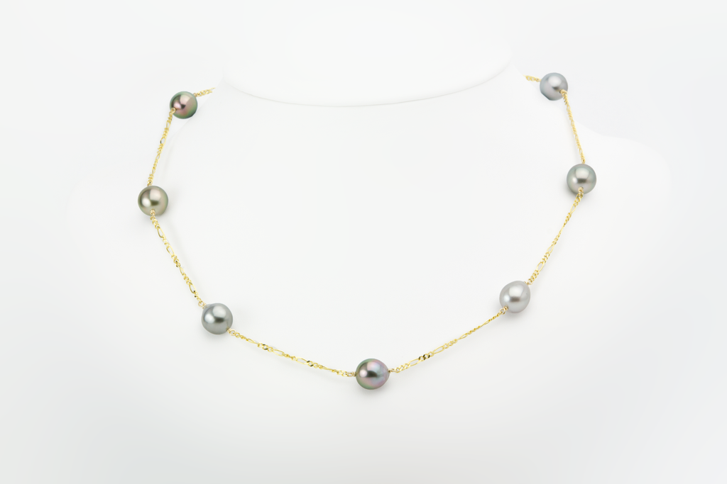 Pastel Tahitian pearl tin cup necklace, 9.5mm, sustainable