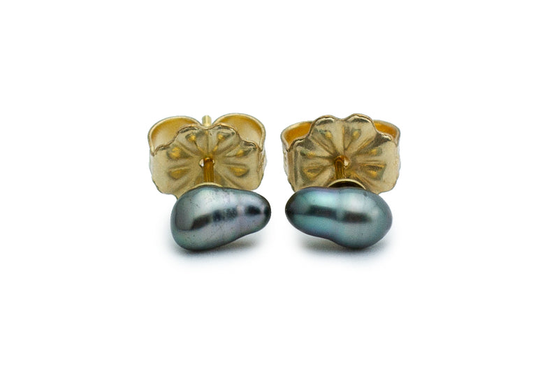 Dark Green Keshi Pearl Stud Earrings