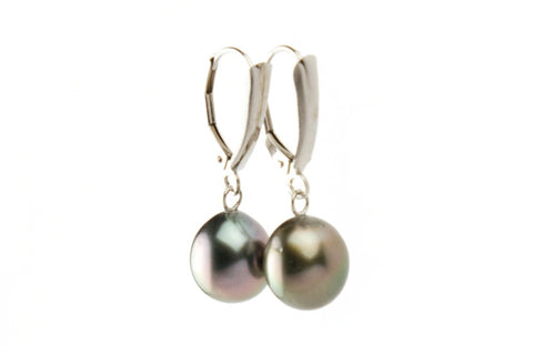 Silver bronze Tahitian pearl lever backs on white gold