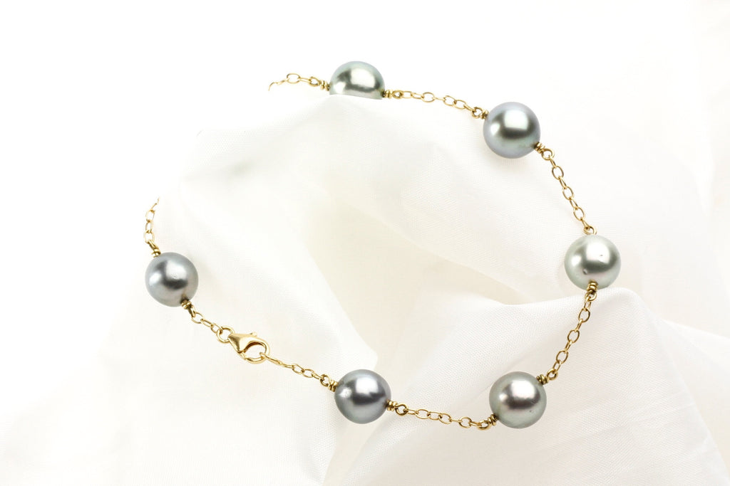 Silver Tahitian pearl Tin Cup bracelet