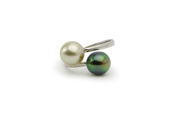 Sustainable double Tahitian pearl ring