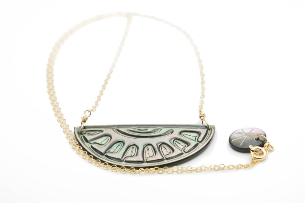 Tahitian Sunrise Mother of Pearl Half Moon Necklace