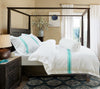 HOTELIER PRESTIGIO™ LUXURY WHITE TURQUOISE STRIPE BUNDLE BED SET