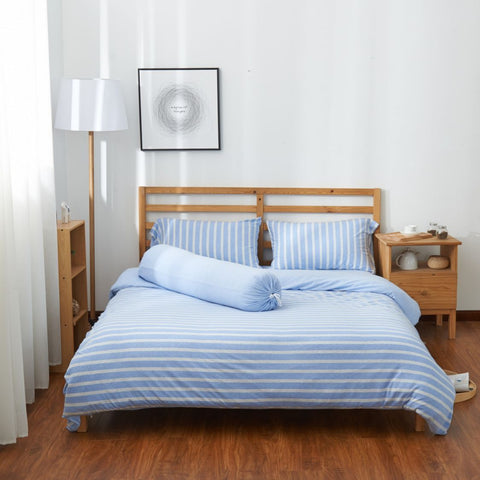 Cotton Pure™ Sky Blue Stripe Jersey Cotton Fitted Sheet Set