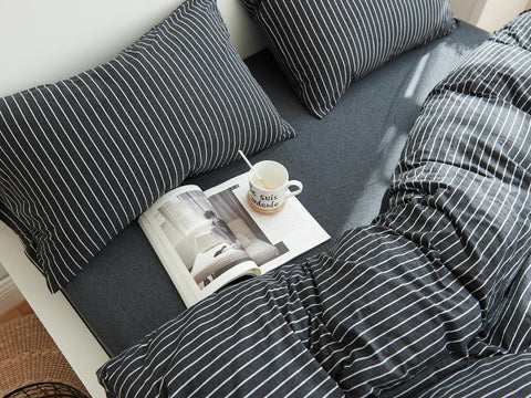 Cotton Pure™ Classic Black Stripe Jersey Cotton Fitted Sheet Set