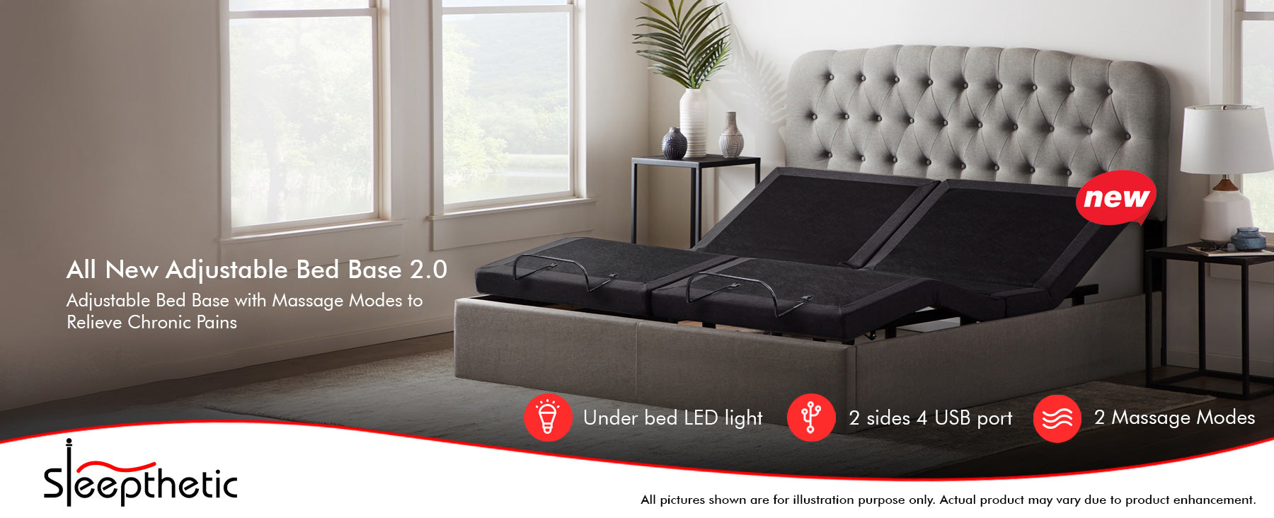 Sleepthetic™ Adjustable Bed Base Version 2.0