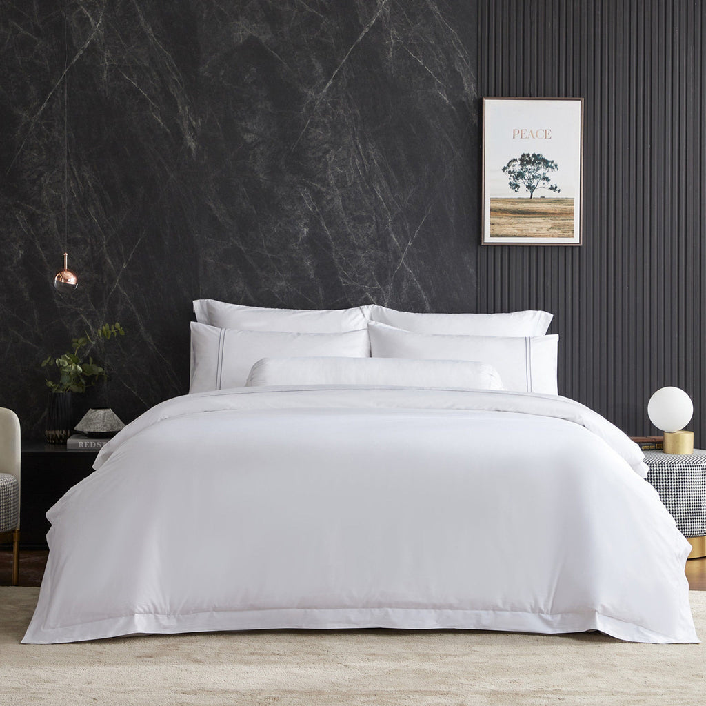 Hotelier Prestigio™ Lucent White With Grey Lines Fitted Sheet Set - Bedding Affairs