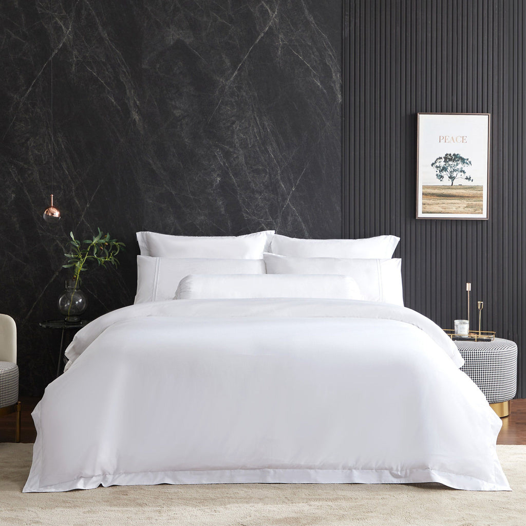 Hotelier Prestigio™ Lucent White With White Lines Fitted Sheet Set - Bedding Affairs