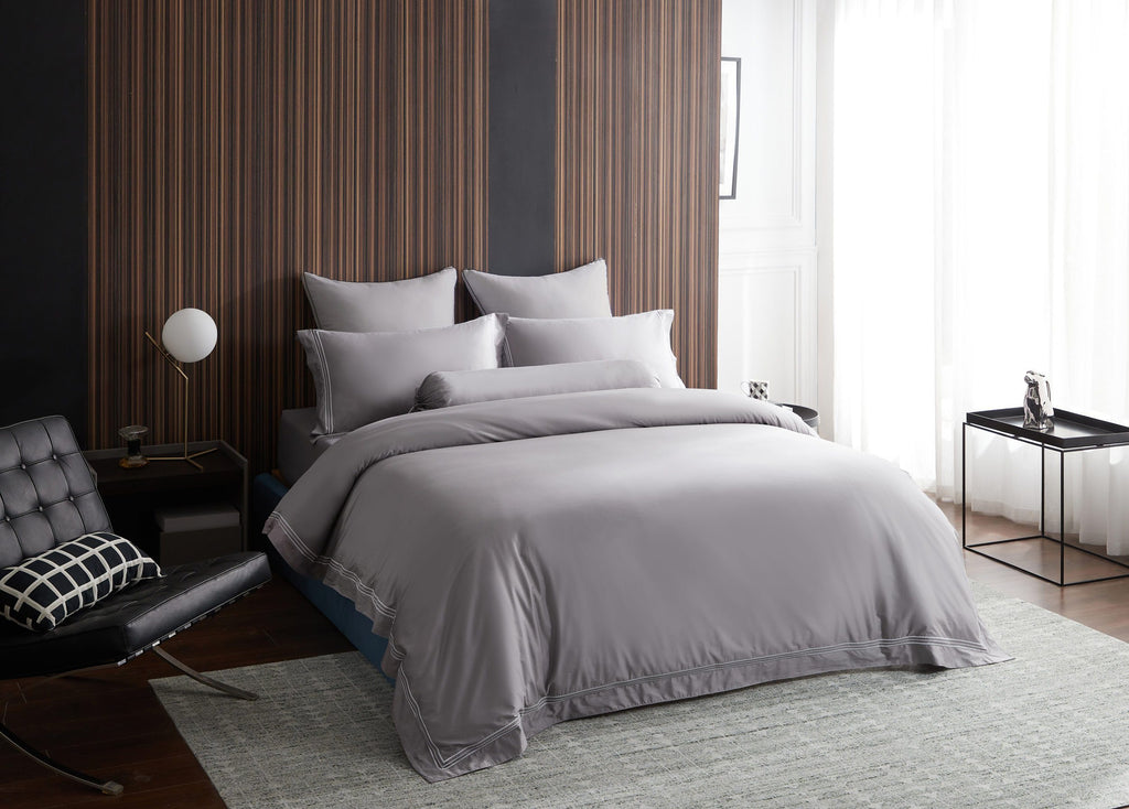 Hotelier Prestigio™ Ashlyn With Grey Border Fitted Sheet Set - Bedding Affairs