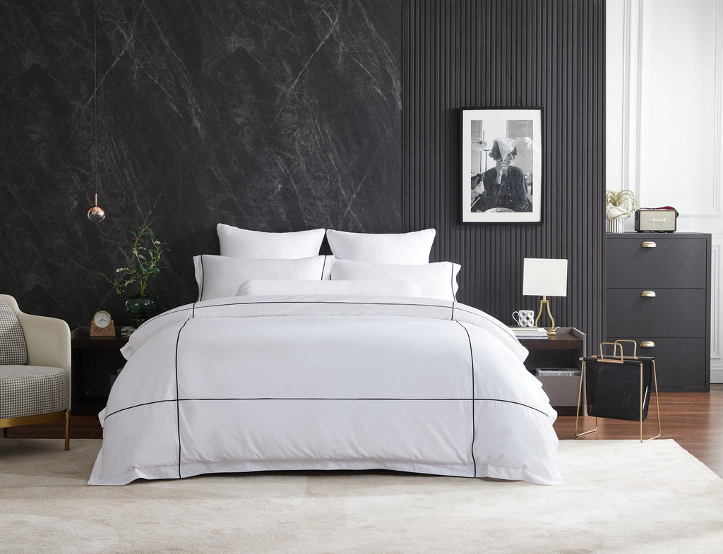 Hotelier Prestigio™ Alvar With Black Cross Border Quilt Cover - Bedding Affairs