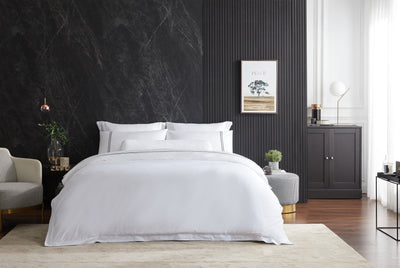 Hotelier Prestigio™ Lucent White With Black Lines Quilt Cover - Bedding Affairs