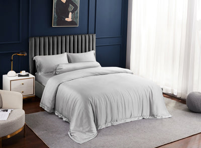Palais Suite TENCEL™ Silvery Grey Fitted Sheet Set - Bedding Affairs