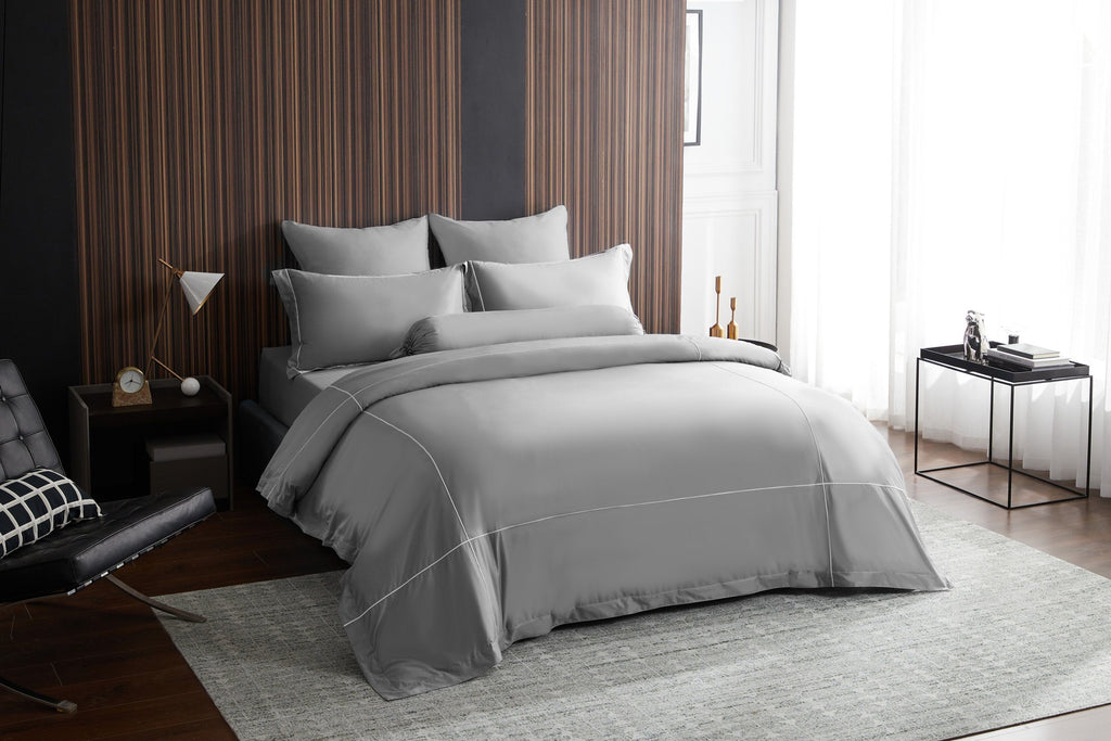 Hotelier Prestigio™ Lloyd With White Cross Border Quilt Cover - Bedding Affairs