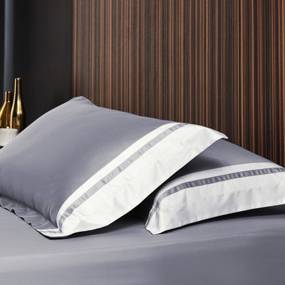 Hotelier Prestigio™ Supima Cotton Percale Pewter Stripe Pillow Case - Bedding Affairs