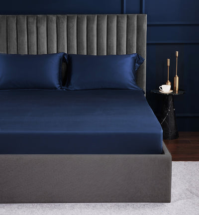 Palais Suite TENCEL™ Empress Blue Fitted Sheet Set - Bedding Affairs