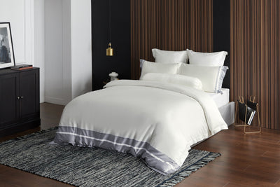 Hotelier Prestigio™ Supima Cotton Silk White Stripe Fitted Sheet - Bedding Affairs