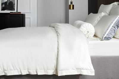 Hotelier Prestigio™ Supima Cotton Silk White Stripe Quilt Cover - Bedding Affairs