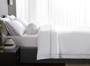 Hotelier Prestigio™ Lucent White With Grey Lines Pillow Case