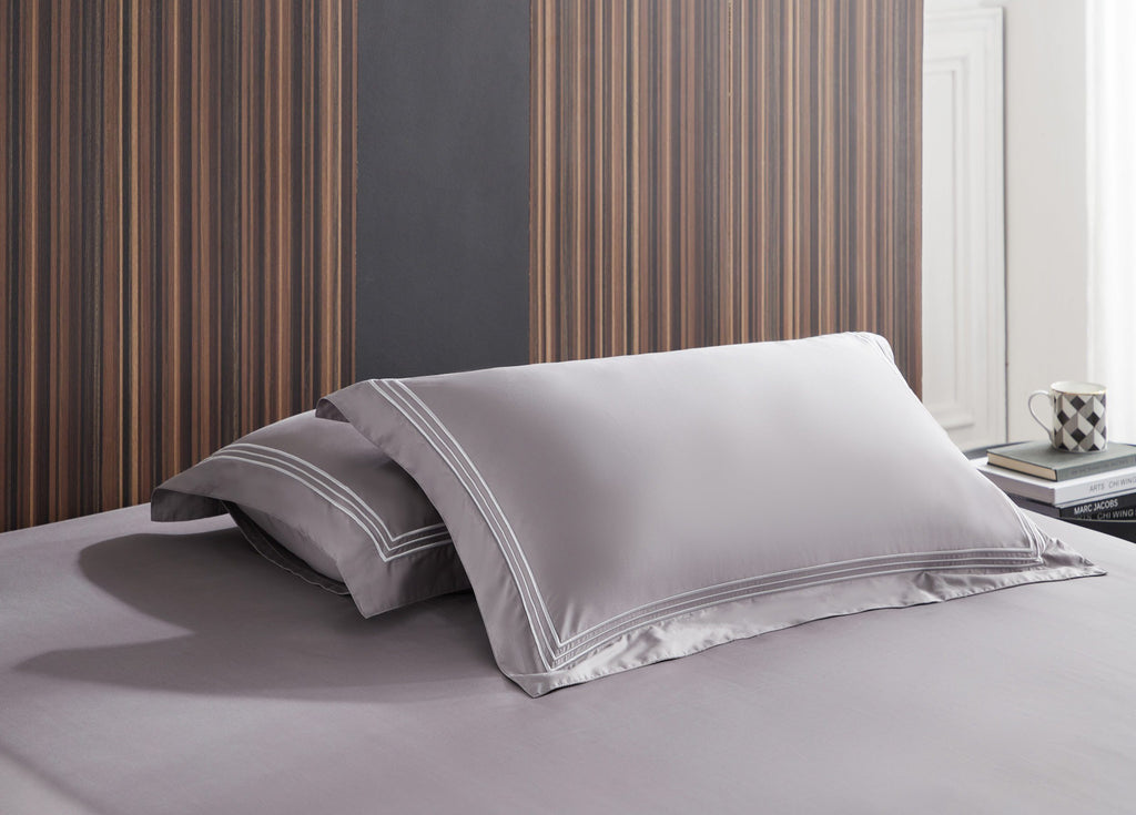 Hotelier Prestigio™ Ashlyn With Grey Border Pillow Case - Bedding Affairs