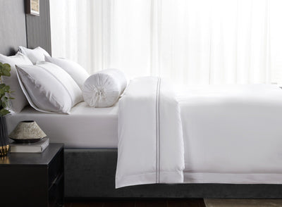Hotelier Prestigio™ Lucent White With Grey Lines Quilt Cover - Bedding Affairs