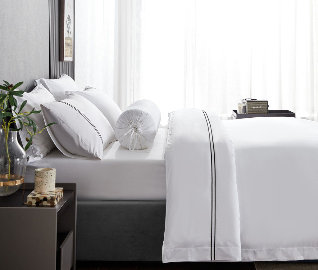 Hotelier Prestigio™ Lucent White With Black Lines Fitted Sheet Set - Bedding Affairs