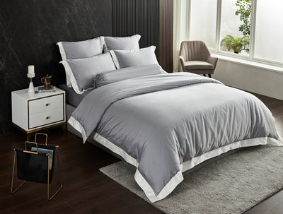 Hotelier Prestigio™ Supima Cotton Percale Earl Gray Dover White Hem Fitted Sheet Set - Bedding Affairs