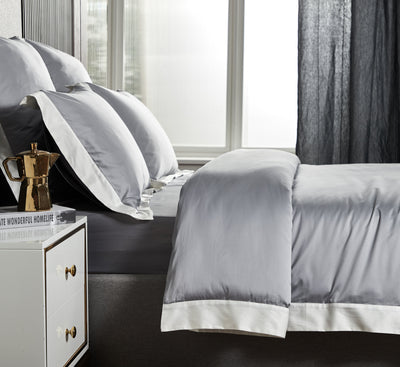 Hotelier Prestigio™ Supima Cotton Percale Earl Gray White Dove Hem Quilt Cover - Bedding Affairs