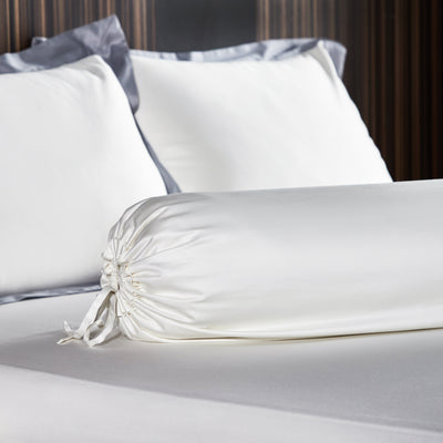 Hotelier Prestigio™ Supima Cotton Percale White Dove Earl Gray Hem Bolster Case - Bedding Affairs