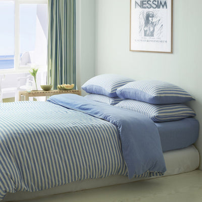 CH Blue Stripe Jersey Cotton Quilt Cover - Bedding Affairs