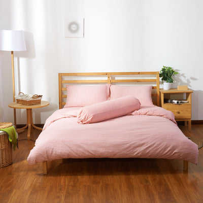 Cotton Pure™ Pinky Stripe Jersey Cotton Fitted Sheet Set - Bedding Affairs