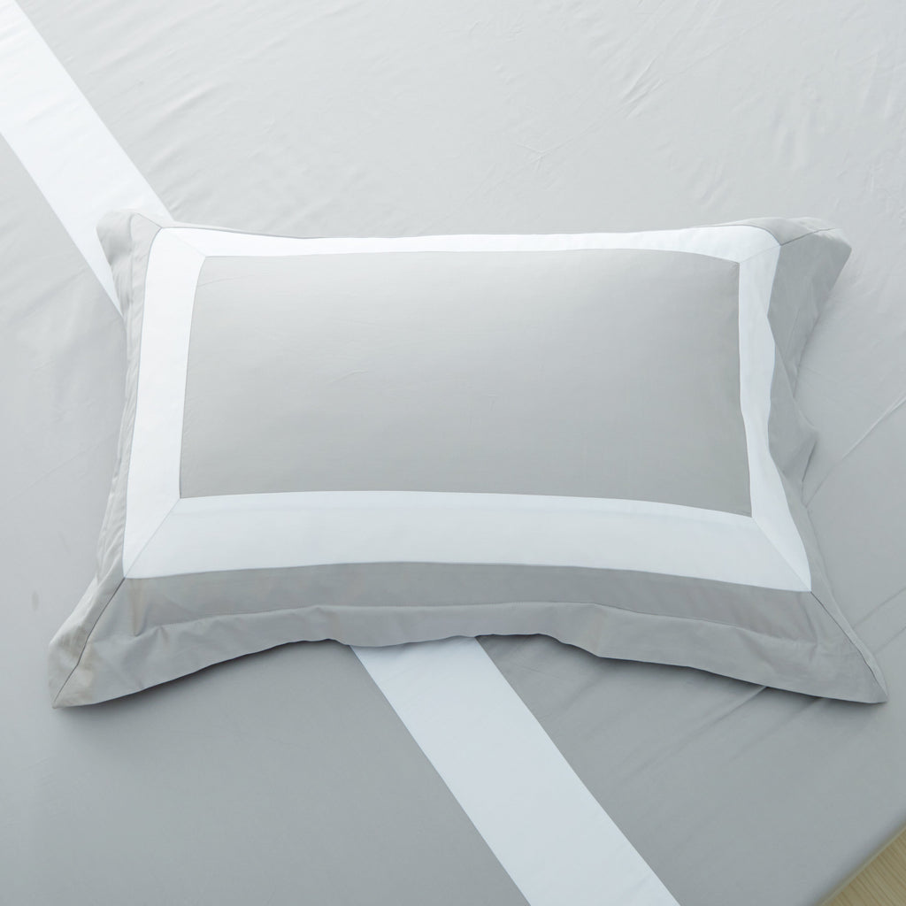 Hotelier Prestigio™ Luxury Cliff Grey Base White Border Pillow Case - Bedding Affairs