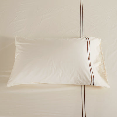 Hotelier Prestigio™ Cream Brown Pillow Case - Bedding Affairs