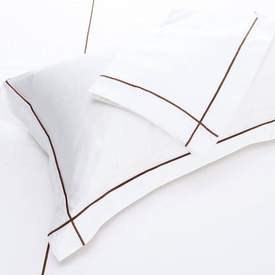 Hotelier Prestigio™ Brown Check Embroidery Pillow Case Pillow & Bolster Case Hotelier Prestigio™